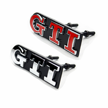 GTI VW Grille Emblem Metal 2 Colors Car Auto Grill Badge Emblem Sticker for Volkswagen Polo VW Golf  4 Golf 5 Golf 6 Car Styling