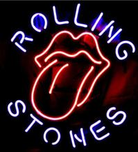 "NEON SIGN board For The Famous Rolling Stones Rock Band GLASS Tube BEER BAR PUB Club Shop Light Signs 16*12""(China)"