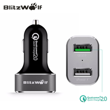 BlitzWolf USB Car Charger QC2.0 Quick Charger Dual Port Car-Charger Mobile Phone Chargers 30W 2.4A For Samsung For iPhone 7 6s(China)