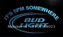 LA094- Bud Light It's 5 pm Somewhere Bar LED Neon Light Sign home decor shop crafts(China)