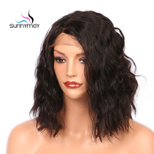 Sunnymay Wavy Brazilian Lace Front Human Hair Wigs 8-16 Inches Bob Lace Wigs 150% Virgin Hair Front Lace Wigs For Black Women(China)