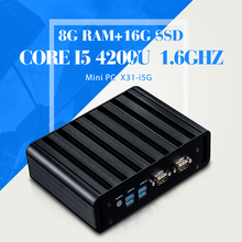 Micro Industrial PC Mini Computer Station Industrial I5 4200U 8GB RAM 16G SSD 2*COM 2*RJ-45 6*USB Thin Client Support HD Video