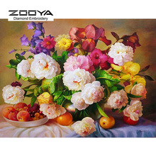 5D DIY Diamond Painting Flower Diamond Painting Cross Stitch Peony Flower &Fruits Diamond Drill Rhinestone Home Decoration CJ256