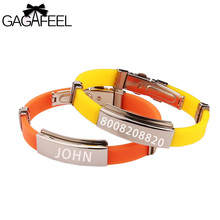GAGAFEEL Diy Bracelets Laser Engrave Custom Jewelry For Men Women Lover Silicone Stainless Steel Bangle Wristband Unique Gifts(China)