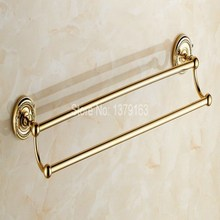 Luxury Polished Gold Color Brass Wall Mounted Bathroom Double Towel Rail Holder Rack Bar aba602