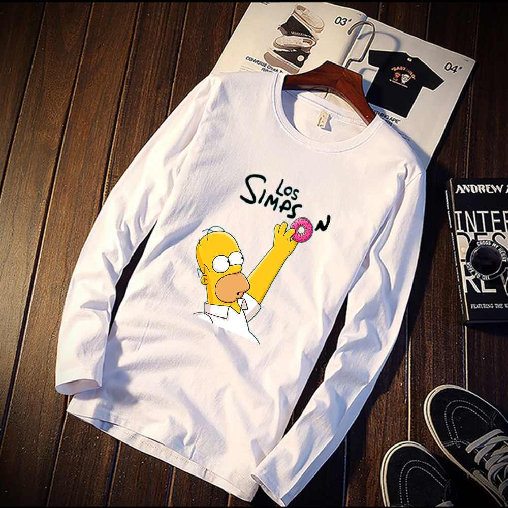 6e4632a460dc 2018 Pure Cotton T-Shirt Funny Homer Simpson Figures Printed Long Sleeve  Fashion Casual Tops