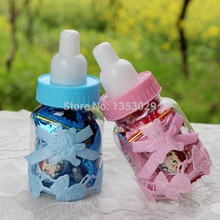 Free Shipping 24pcs/lot 4*9cm Pink/ Blue Baby Shower Candy Bottle Baptism Christening Birthday Gift Favors Candy Box Bottle