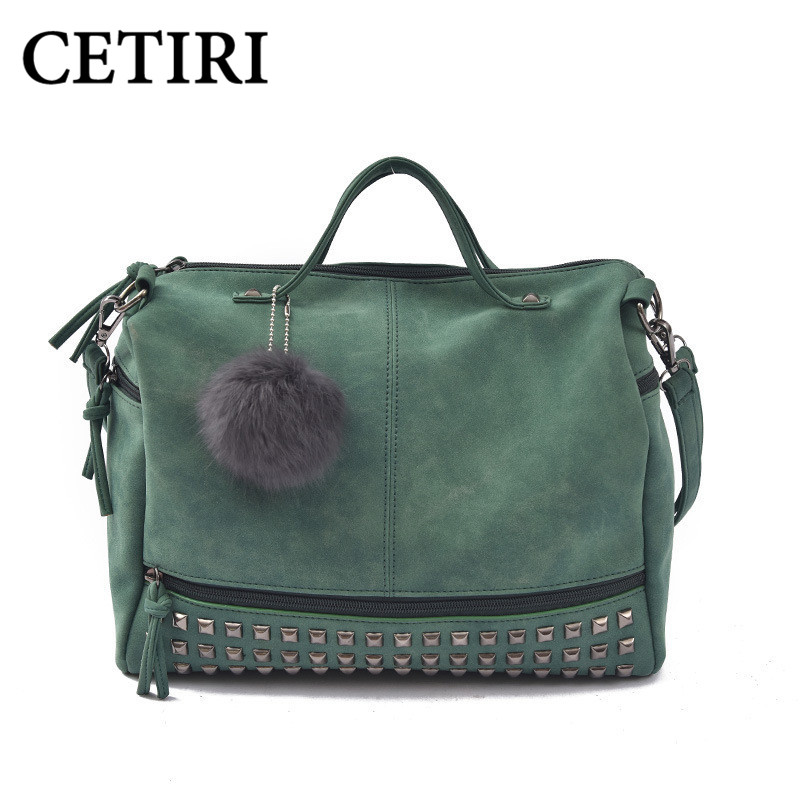 women leather handbags scrub green rivet shoulder bags women messenger bags with fur tote sac a main bolsas 2017 bolsa feminina<br>