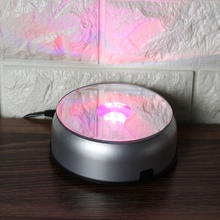 Fashion 7 LED White Light Stand Base Display with Plug for Crystal Glass Art Work Paper Weights Crafts Home Desk Decor