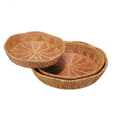 Fine finish exquite handwork Pizza dishes wickerwork plates willow crafts kitchen storage box basket yellow dishes fruit tray(China)