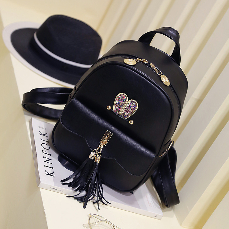 Cartoon cute small black backpack Tasseled womens fashion rabbit leisure bag Fresh girls bag Ms. small bag childrens bag<br><br>Aliexpress