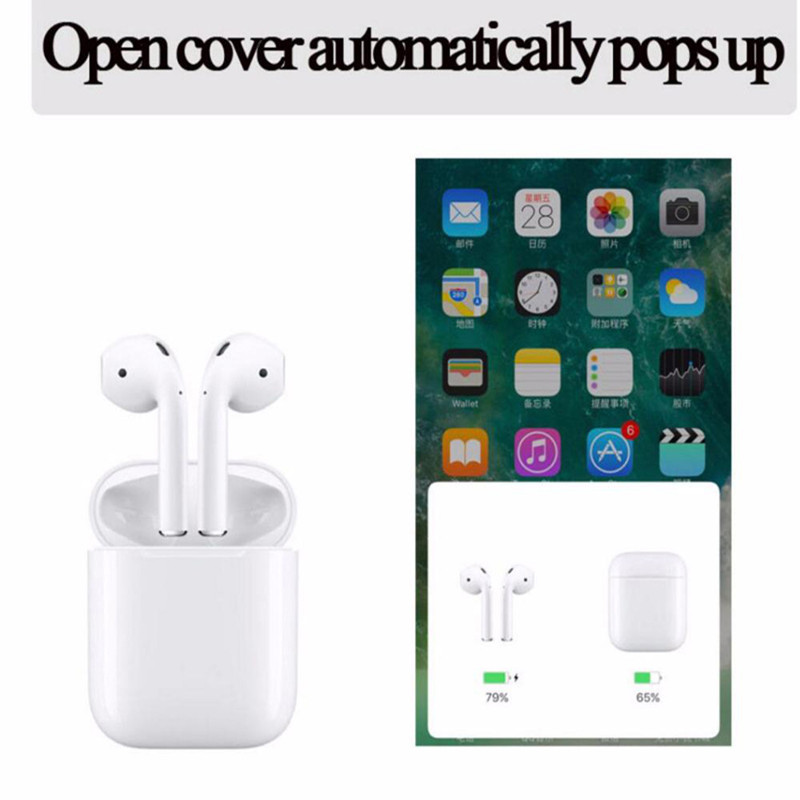 2019 New 1:1 Copy for Air pod Wireless Earphone Bluetooth headphones super bass battery Pop-up Charging Box For iPhone 7 8 X(China)