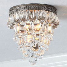 American luxury crystal creative ceiling light simple modern retro living room balcony bedroom ceiling lamp Retro lighting(China)