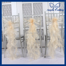 CH098C New arrival 2015 cheap fancy wedding organza frilly champagne curly willow chair sash
