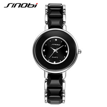 SINOBI Brand Women Watches 2017 Imitated Ceramic Ladies Luxury Black Bracelet Watches Fine Steel Vogue Female Quartz WristWatch(China)