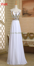 2016 Real Photo Fast Delivery Chiffon Cheap Sequined Long Prom Dresses/Evening Dresses White In Stock Us Size 2 4 6 8 AINFJ702