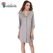 Vislivin Arrivals Modal Nightgowns Soft Home Dress Sexy Nightwear Women Sleepwear Solid Sleep Lounge Cardigan(China)