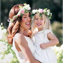 Rose Flower Headband For Baby Girl Party Festival Garlands Hair Band Lady Women Crown Forehead