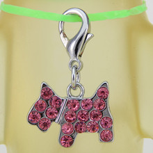 (I have a date with pet) Rose pet diamond shape dog accessories zinc alloy material with lobster clasp high-end pet pendants(China)