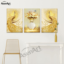 Canvas Print Wall Art 3D Effect Pictures Animal Golden and Blue Peacock Painting for Kids Room Bedroom Hall Decoration No Frame(China)