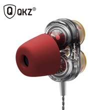 QKZ KD7 Dual Dynamic Driver Professional In Ear Earphone with 4 driver inside fone de ouvido auriculares 2 colors With T400 Foam