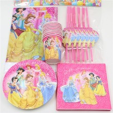 57pc/lot Baby Shower Straws Favors Cartoon Tablecloth Birthday Cups Princess Kids Decoration Napkins Party Paper Plates Supplies