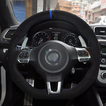Black Suede Blue Black Maker Car Steering Wheel Cover for Volkswagen Golf 6 GTI MK6 VW Polo GTI Scirocco R Passat CC R-Line 2010