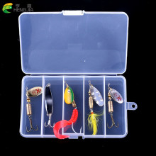 HENGJIA 5pcs in one box Mixed Fishing Lures Set Kit Metal Lures for Trout Perch Bass Fishing Spoons Hard Baits spinner bait(China)