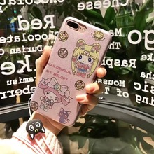 Japan Super Cute Cartoon Sailor Moon My Melody Shimmering Powder Soft TPU Case Cover With Lanyard For Iphone6 6S 6Plus 7 7Plus