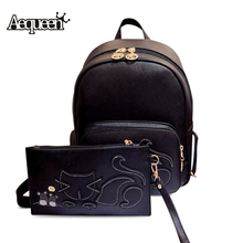 AEQUEEN  Leather Backpack Women Cat Cute Backpacks School Bags For Teenage Girls Fashion Book Bag Pack 2PCS Sets