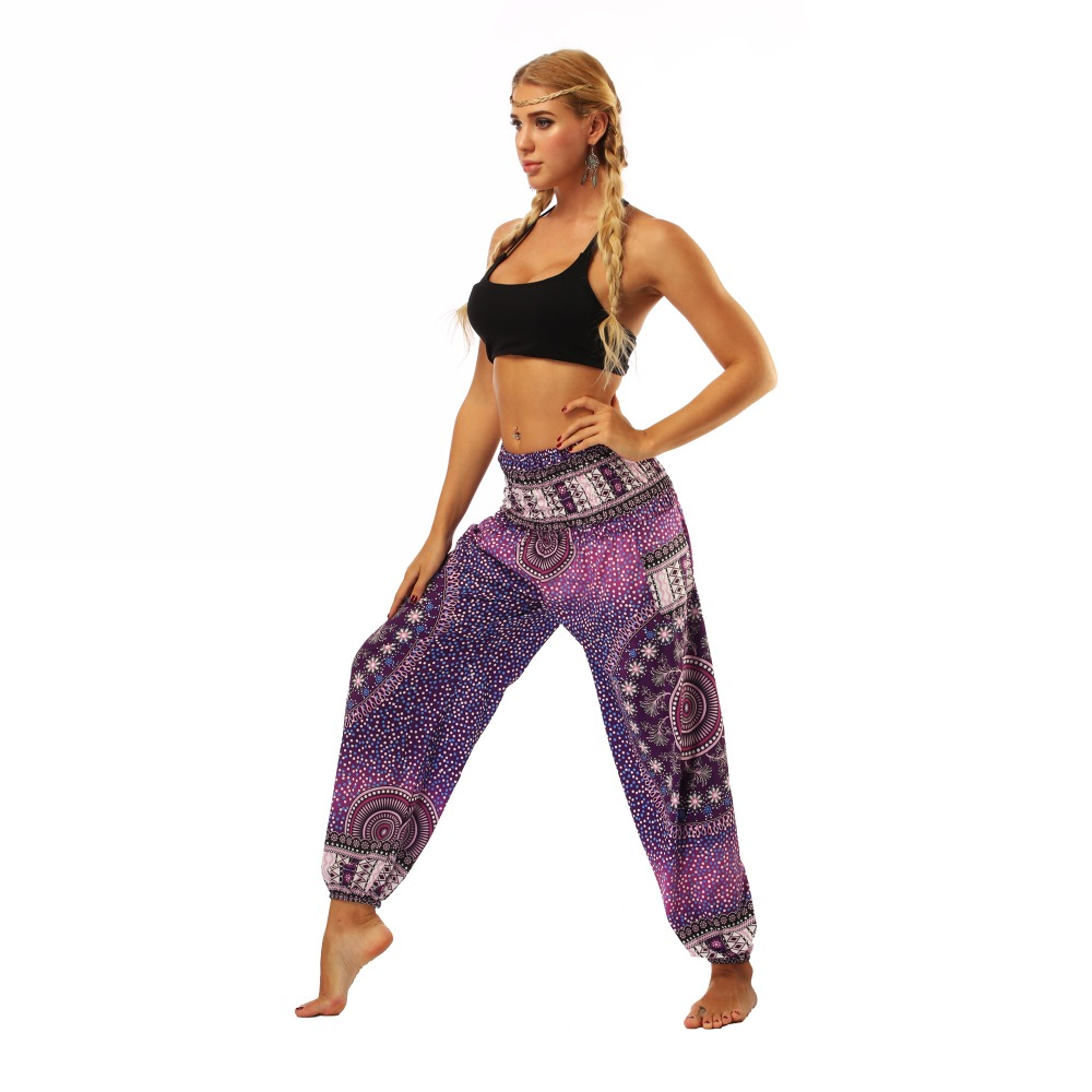 TL005- Purple galaxy floral wide leg loose yoga pant leggings (4)