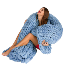Sweater Thread Throw Blanket On The Couch Solid Color Blue White Pink Crochet Mink Throw Adult Super Thick Plaid Sofa Blankets
