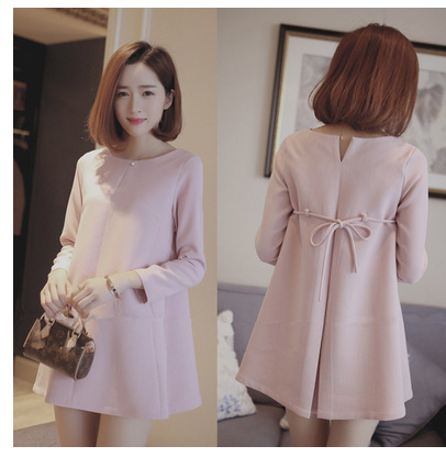maternity spring fashion maternity one-piece dress autumn long-sleeve pink maternity dress maternity clothing top with bow<br><br>Aliexpress
