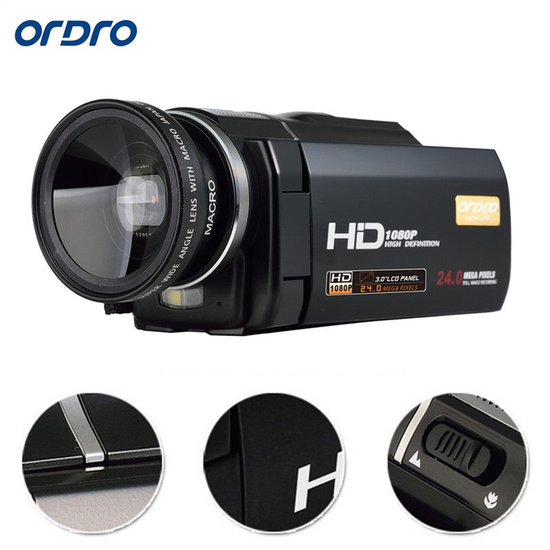 "ORDRO HDV-F5 Full HD 1080P 16X Zoom 3""Touch Digital Video Camera Camcorder DVR Free shipping(China)"