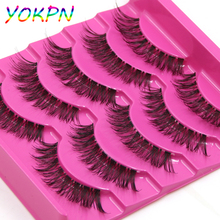 New Imported High-Quality High-Temperature Silk Natural False Eyelashes Cross Messy Fake Eyelashes Transparent Makeup Eyelashes