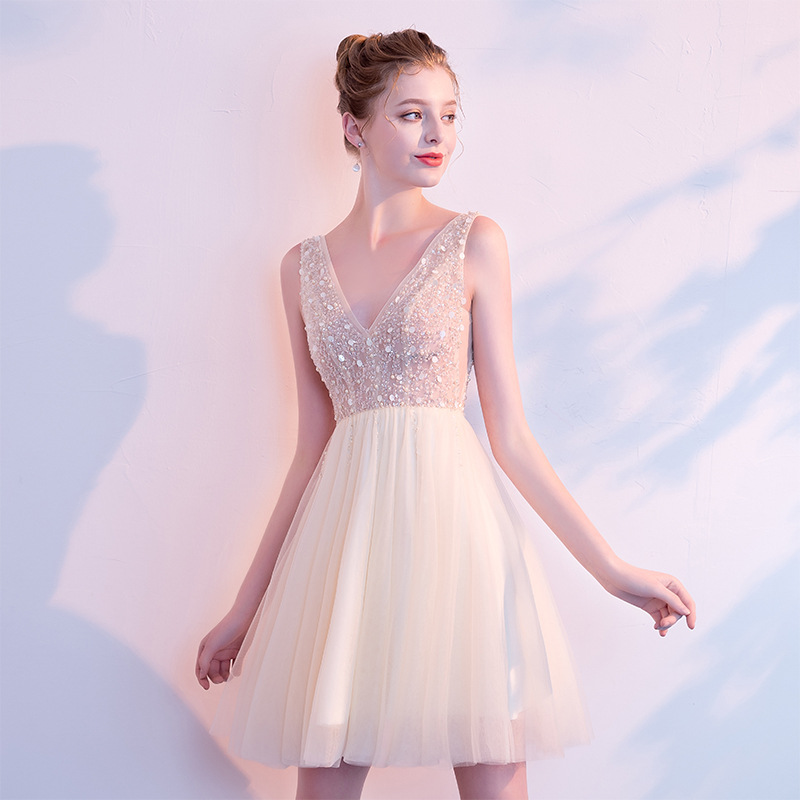 Mrs Win 2019 New Short Champagne Evening Dress Female Dresses Sexy V-neck Dress Birthday Party Dress Beading Prom Gown