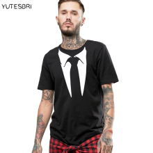 Fashion funny Gentleman black t shirt brand tees men tshirt New type tie pattern male short sleeves T-shirt top tees for men(China)
