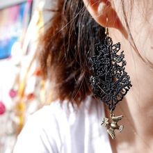 2017 Hot Sale Plant Trendy Zinc Alloy Women Brincos New Style Lace Earrings Metal Bird Charm Handmade Tassel 1007