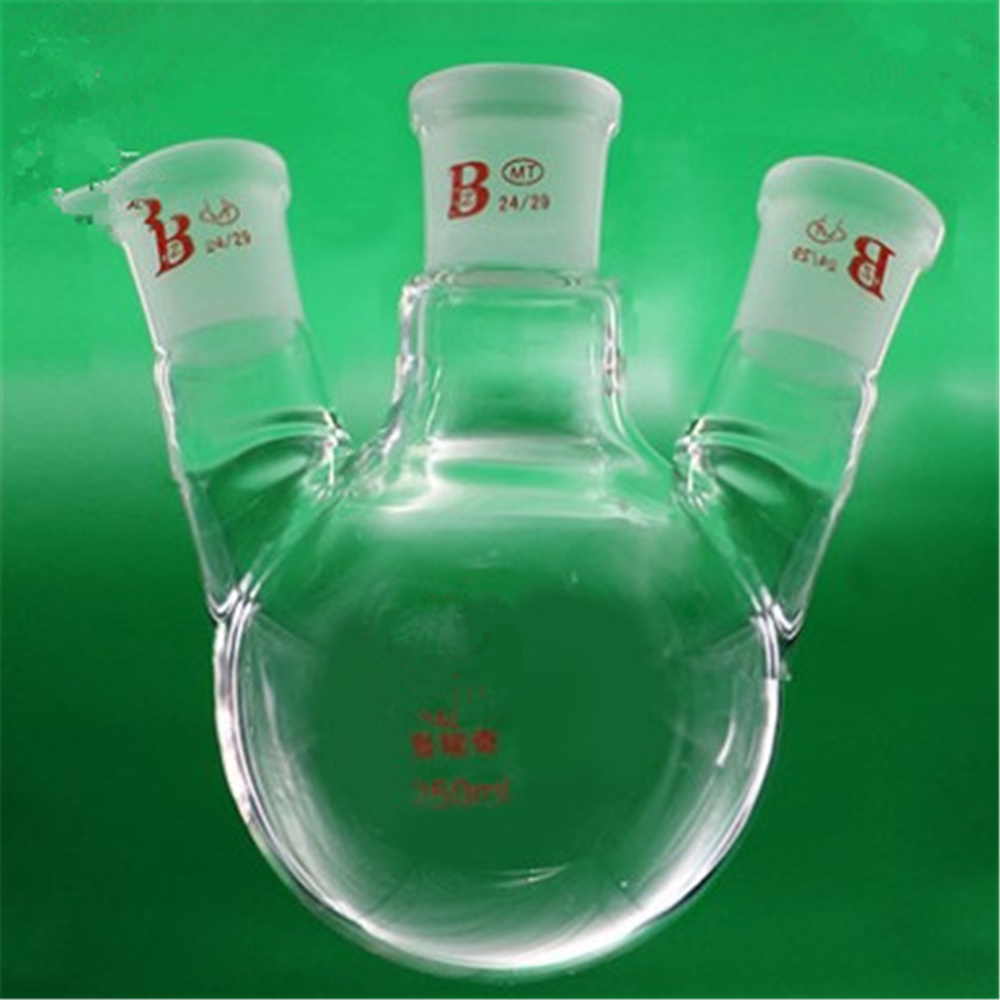 500ml,24/29*3,3-neck,Round bottom bevel connect Glass flask,Lab Boiling Flasks,Three neck laboratory glassware<br>