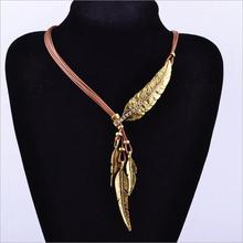 New Fashion Bohemian Style Bronze Rope Chain Feather Pattern Pendant Necklace Gold Silver Free Shipping(China)