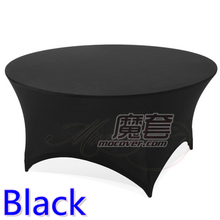 Black colour wedding table cloth lycra table cover spandex table linen hotel banquet party round tables decoration on sale(China)