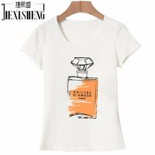 Women's Loose T-Shirt O-Neck Tops Women's Cotton Tee with Short-Sleeve and Perfume Bottle Print Women's T-Shirt Plus Size HH015