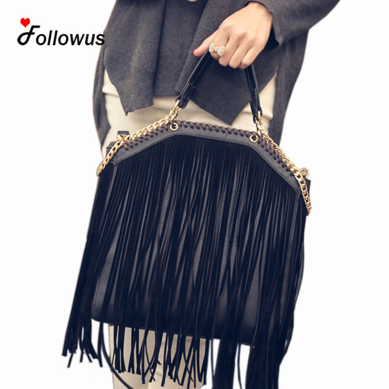 Chain Leather Tote Handbags Women 2017 Shoulder Tassel Fringe High Capacity Ladies Casual New Fashion Shoulder Bag<br><br>Aliexpress