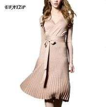 winter Knitting Dress 2016 new High quality Women Clothing Elegant long sleeve dresses Spring Knee Length Sweater Casual dress