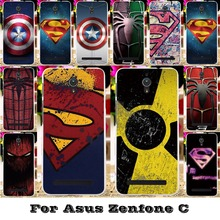 Soft Silicon TPU & Plastic Cover Cases For Asus ZenfoneC ZC451CG Z007 Zenfone C Cases Captain America superman Spider back cover