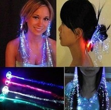 1200pcs/lots LED Light Hair Flashing Hairpin tire color fiber Luminous braid Party Festival Bar Party Fun items free shipping