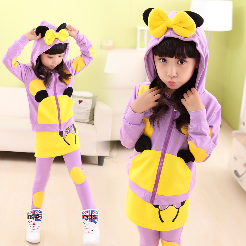 2015 new mickey minnie clothing set coat+skirt pants teenage sport suit kids girls fashion clothes inverno 2 color<br><br>Aliexpress