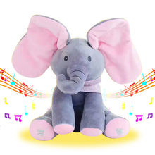 Peek A Boo Elephant Stuffed Animals & Plush Elephant Doll Play Music Elephant Educational Anti-stress Electric Toy For Baby(China)