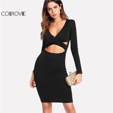 COLROVIE 2017 Deep V Neck Long Sleeve Winter Dress Black Cut Out Crisscross Front Bodycon Dress Women Sexy Party Pencil Dress(China)
