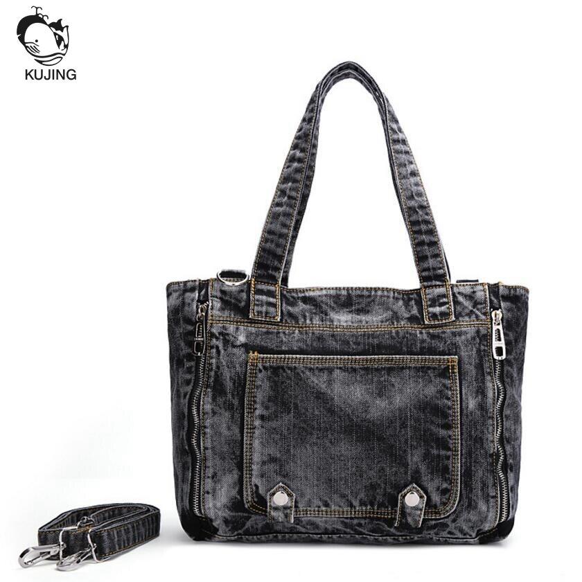 KUJING Fashion Handbag High Quality Denim Business Women Handbag Free Shipping Shopping Leisure Womens Shoulder Messenger Bag<br>